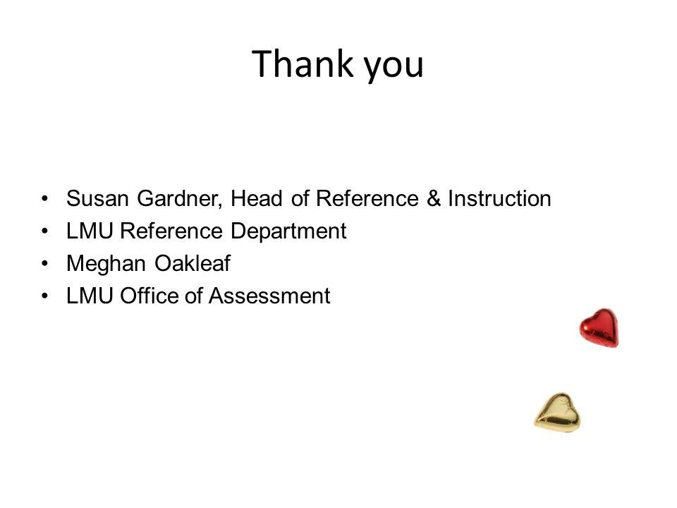 Thank you Susan Gardner, Head of Reference & Instruction LMU Reference Department Meghan Oakleaf LMU Office of Assessment