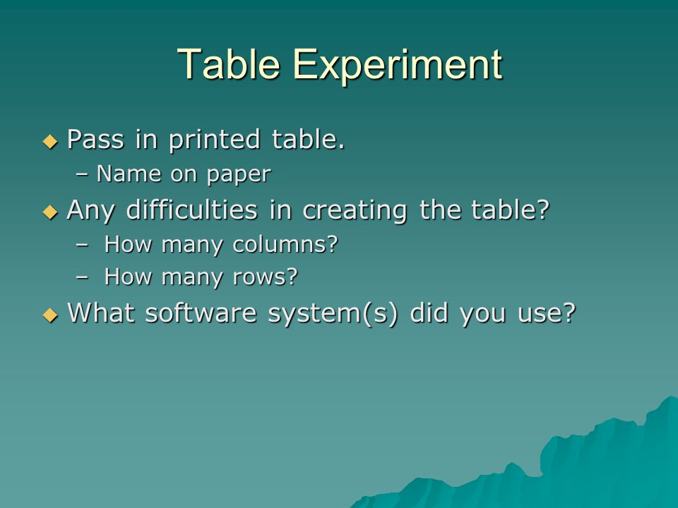 Table Experiment  Pass in printed table. –Name on paper  Any difficulties in creating the table.