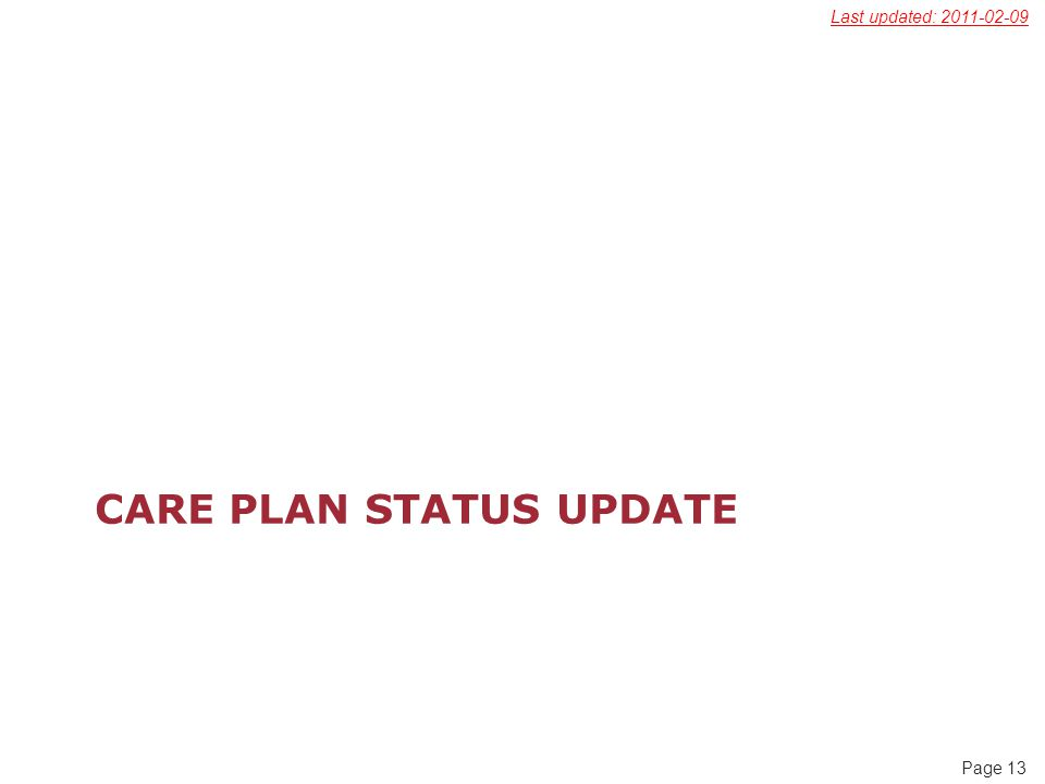 Page 13 CARE PLAN STATUS UPDATE Last updated: 2011-02-09