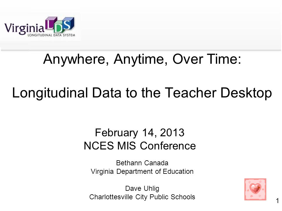 1 Anywhere, Anytime, Over Time: Longitudinal Data to the Teacher Desktop February 14, 2013 NCES MIS Conference Bethann Canada Virginia Department of Education Dave Uhlig Charlottesville City Public Schools