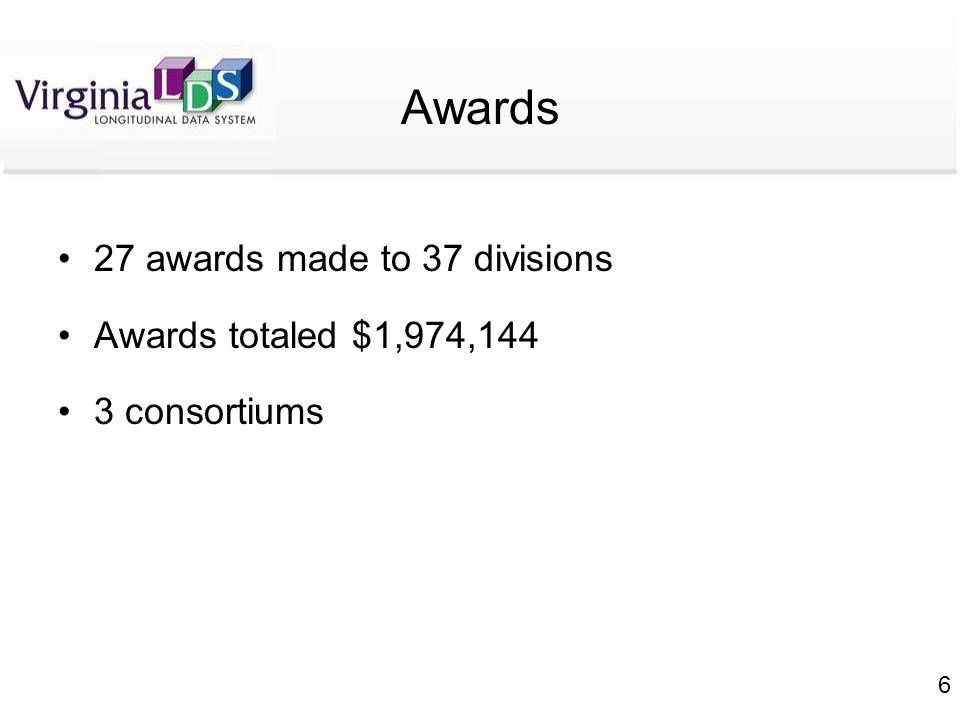 6 Awards 27 awards made to 37 divisions Awards totaled $1,974,144 3 consortiums