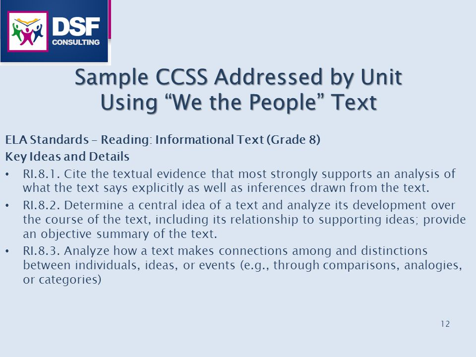 "Sample CCSS Addressed by Unit Using ""We the People"" Text ELA Standards – Reading: Informational Text (Grade 8) Key Ideas and Details RI.8.1. Cite the"