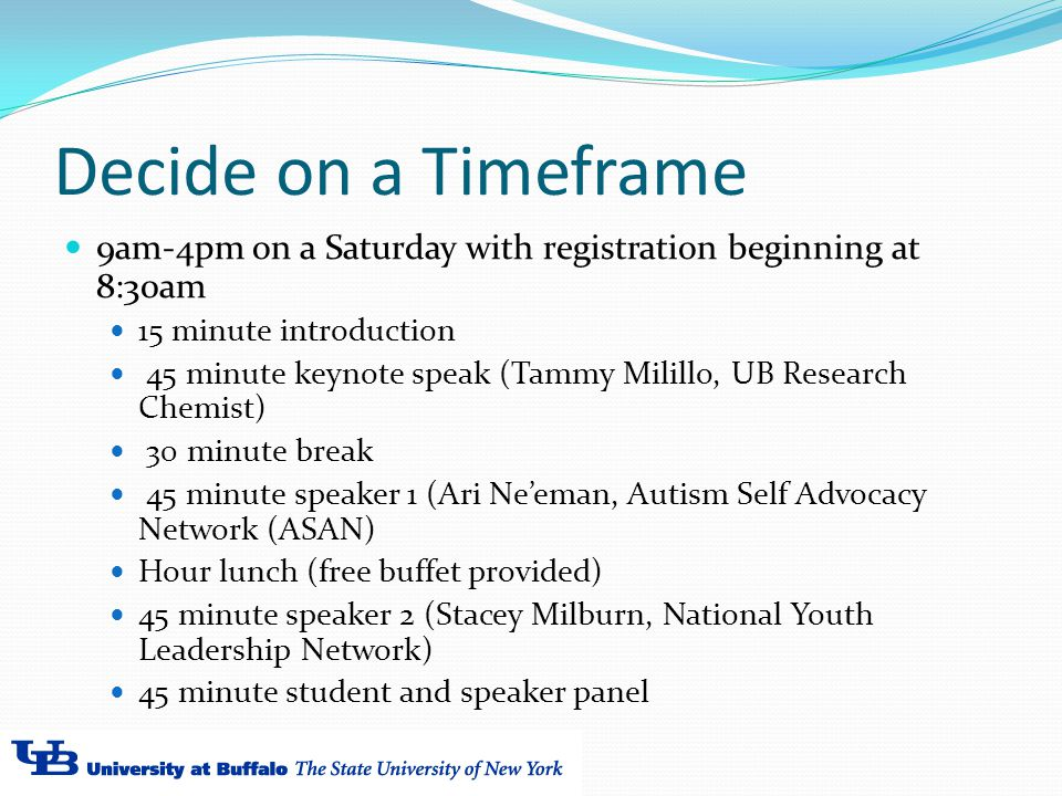 Decide on a Timeframe 9am-4pm on a Saturday with registration beginning at 8:30am 15 minute introduction 45 minute keynote speak (Tammy Milillo, UB Research Chemist) 30 minute break 45 minute speaker 1 (Ari Ne'eman, Autism Self Advocacy Network (ASAN) Hour lunch (free buffet provided) 45 minute speaker 2 (Stacey Milburn, National Youth Leadership Network) 45 minute student and speaker panel