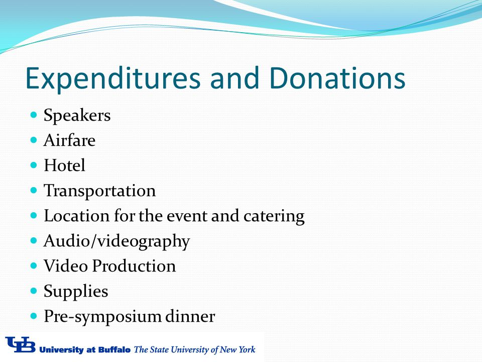 Expenditures and Donations Speakers Airfare Hotel Transportation Location for the event and catering Audio/videography Video Production Supplies Pre-symposium dinner