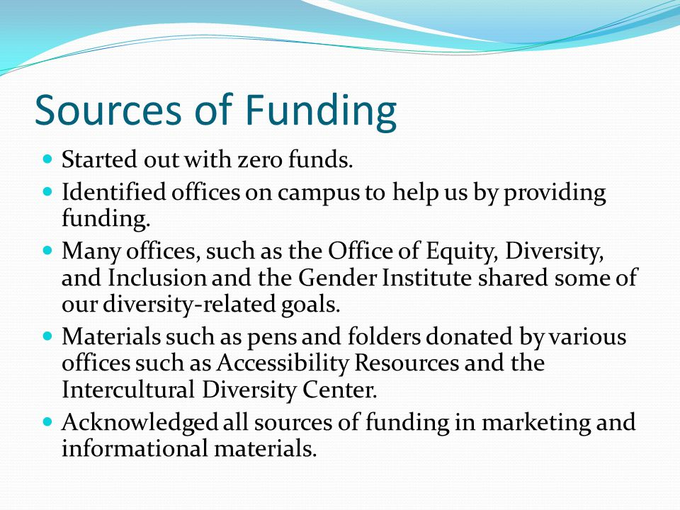 Sources of Funding Started out with zero funds.