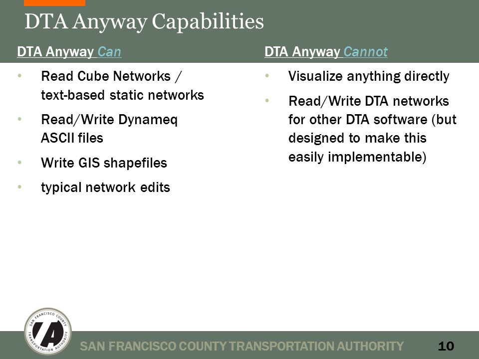 DTA Anyway Capabilities DTA Anyway Can Read Cube Networks / text-based static networks Read/Write Dynameq ASCII files Write GIS shapefiles typical network edits SAN FRANCISCO COUNTY TRANSPORTATION AUTHORITY10 DTA Anyway Cannot Visualize anything directly Read/Write DTA networks for other DTA software (but designed to make this easily implementable)