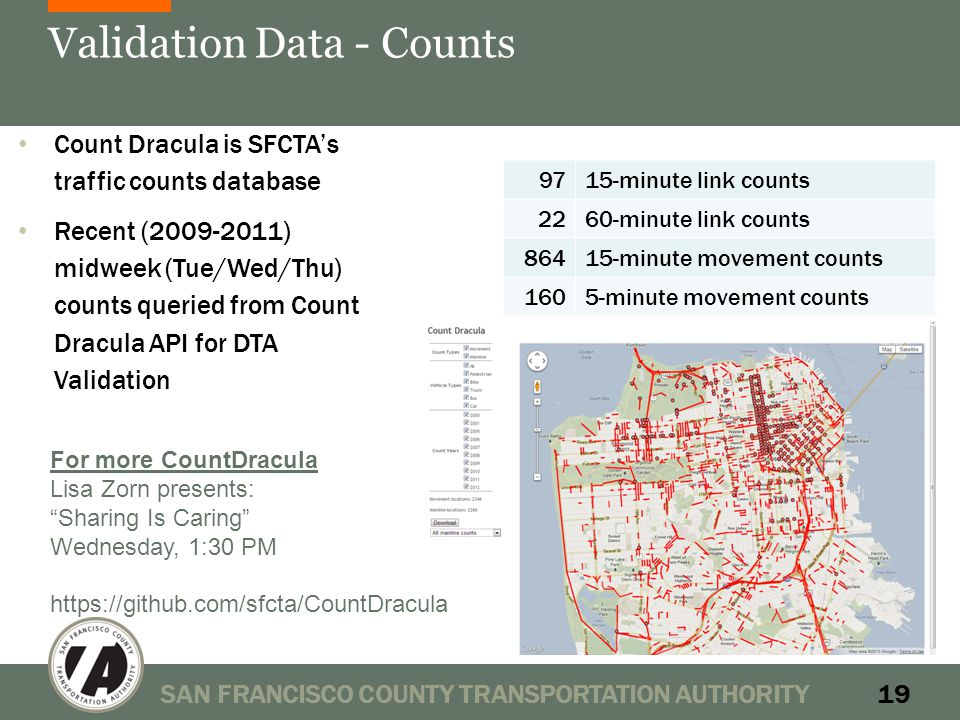 Validation Data - Counts SAN FRANCISCO COUNTY TRANSPORTATION AUTHORITY19 9715-minute link counts 2260-minute link counts 86415-minute movement counts 1605-minute movement counts Count Dracula is SFCTA's traffic counts database Recent (2009-2011) midweek (Tue/Wed/Thu) counts queried from Count Dracula API for DTA Validation For more CountDracula Lisa Zorn presents: Sharing Is Caring Wednesday, 1:30 PM https://github.com/sfcta/CountDracula