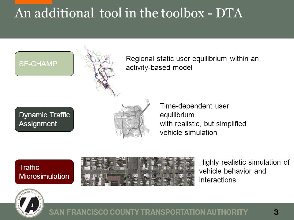 An additional tool in the toolbox - DTA SAN FRANCISCO COUNTY TRANSPORTATION AUTHORITY3 SF-CHAMP Dynamic Traffic Assignment Traffic Microsimulation Time-dependent user equilibrium with realistic, but simplified vehicle simulation Regional static user equilibrium within an activity-based model Highly realistic simulation of vehicle behavior and interactions