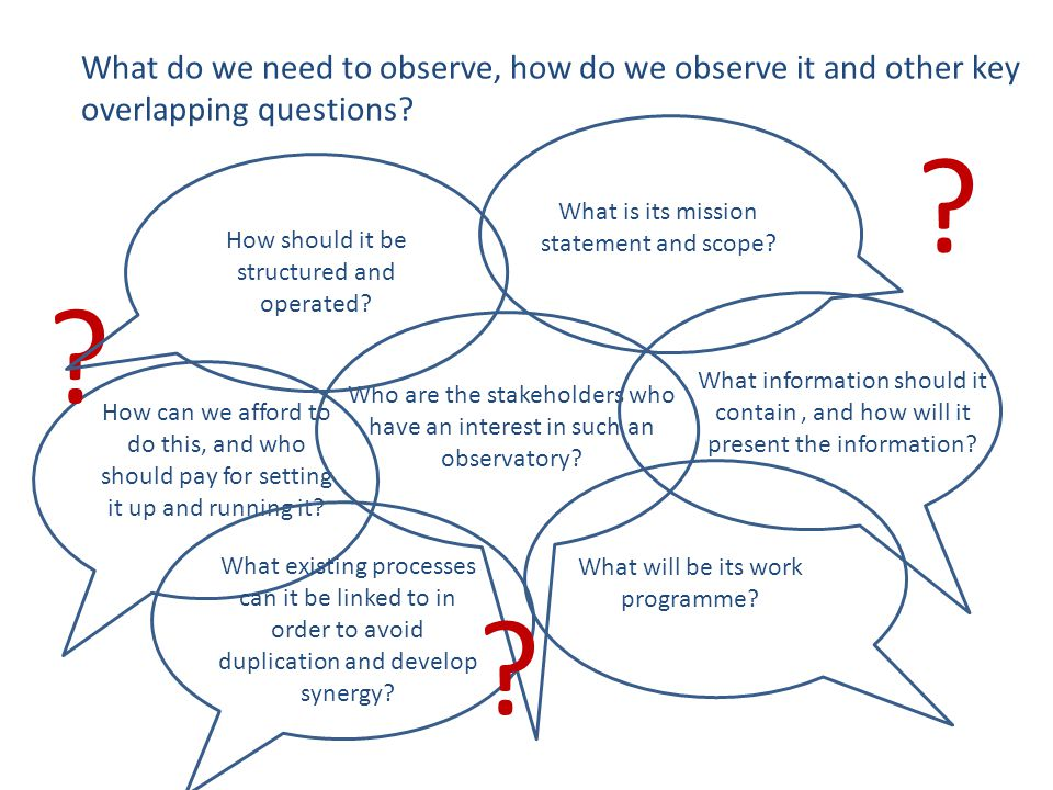 What do we need to observe, how do we observe it and other key overlapping questions? Who are the stakeholders who have an interest in such an observa