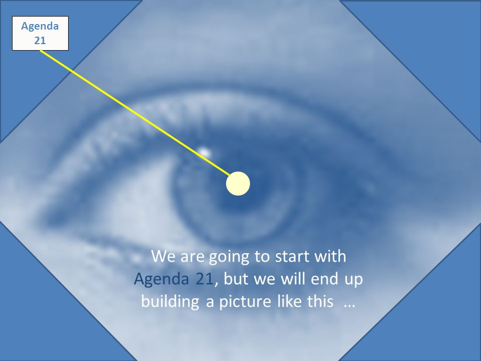 Original diagram - saved Agenda 21 We are going to start with Agenda 21, but we will end up building a picture like this …