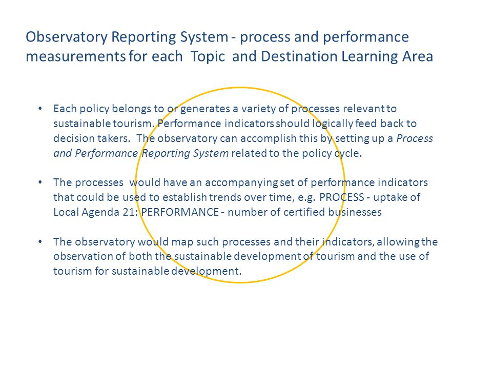 Each policy belongs to or generates a variety of processes relevant to sustainable tourism. Performance indicators should logically feed back to decis