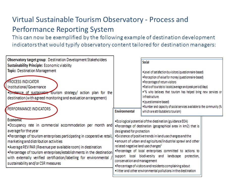 Virtual Sustainable Tourism Observatory - Process and Performance Reporting System This can now be exemplified by the following example of destination