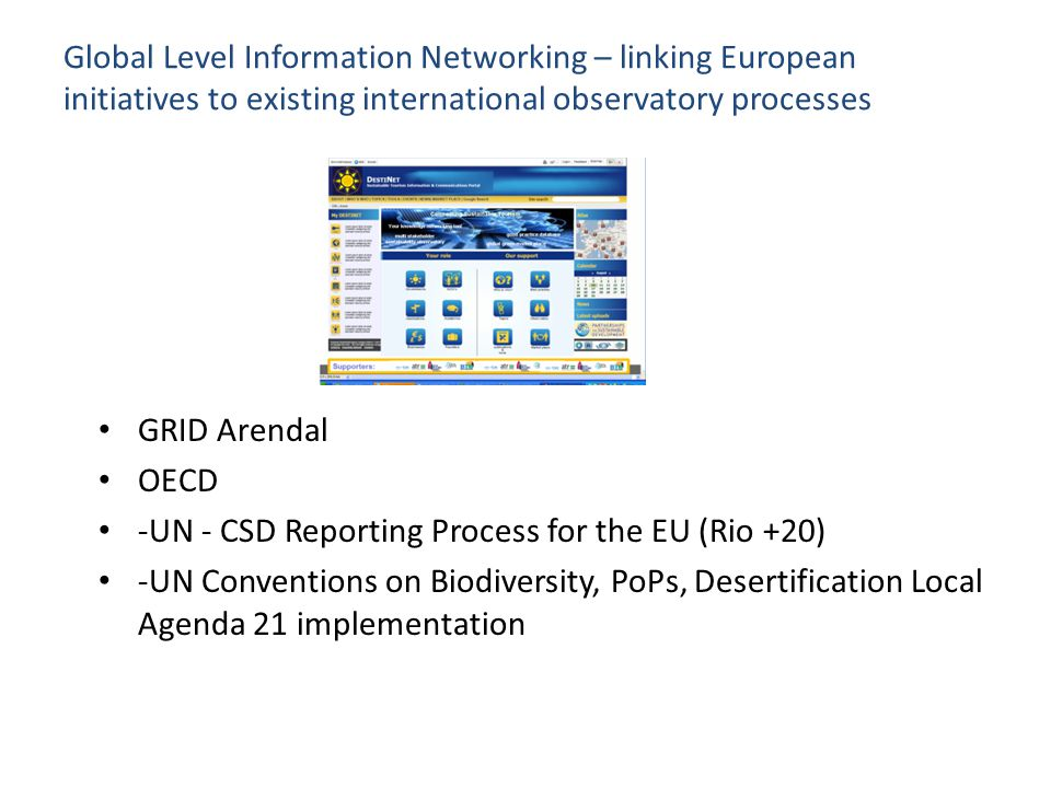 Global Level Information Networking – linking European initiatives to existing international observatory processes GRID Arendal OECD -UN - CSD Reporti