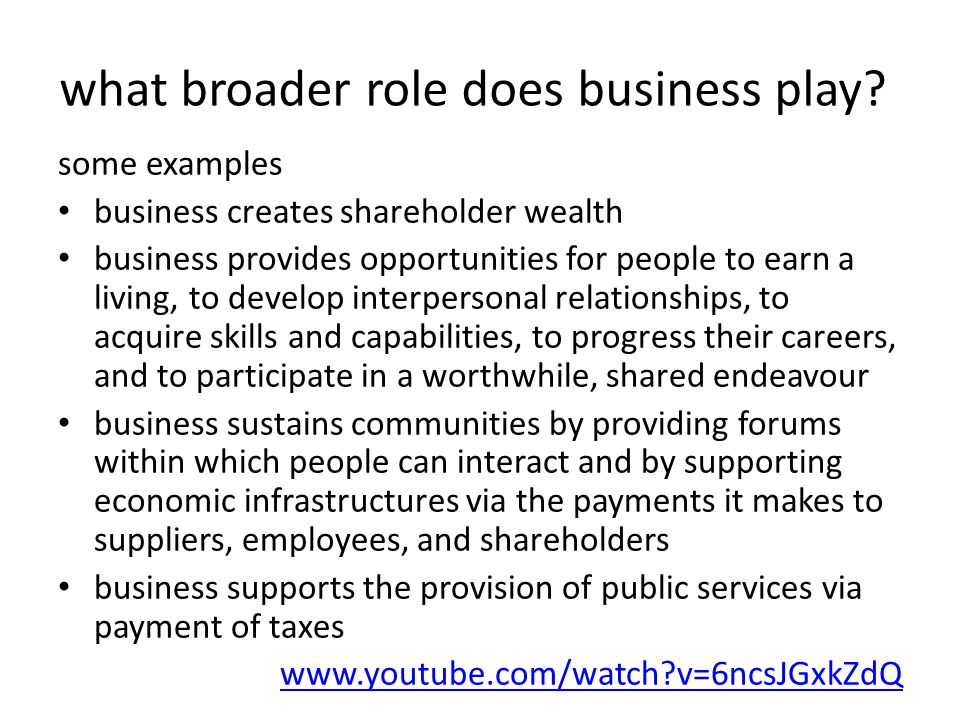 what broader role does business play.