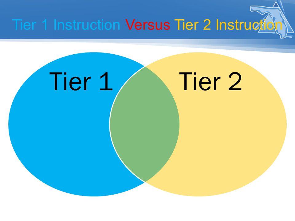 Tier 1 Instruction Versus Tier 2 Instruction Tier 1Tier 2