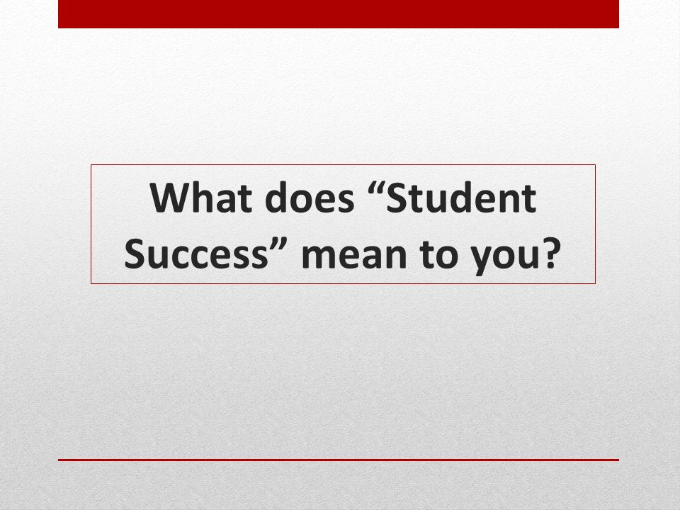 Lessons Learned from the Student Success Conference Participants felt strongly that it is important to retain a focus on our mission in the wake of outside pressures and influences.