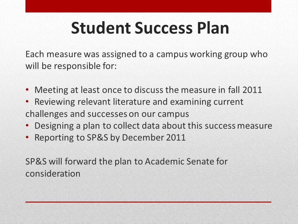 Student Success Plan Each measure was assigned to a campus working group who will be responsible for: Meeting at least once to discuss the measure in