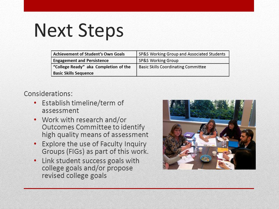 Next Steps Considerations: Establish timeline/term of assessment Work with research and/or Outcomes Committee to identify high quality means of assess