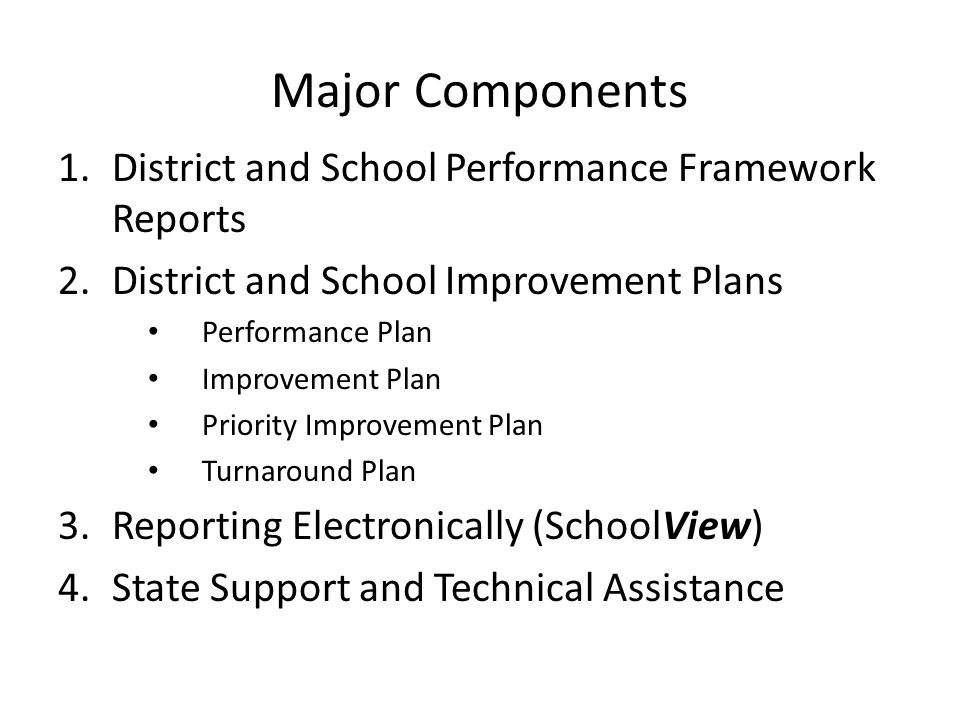 Major Components 1.District and School Performance Framework Reports 2.District and School Improvement Plans Performance Plan Improvement Plan Priority Improvement Plan Turnaround Plan 3.Reporting Electronically (SchoolView) 4.State Support and Technical Assistance