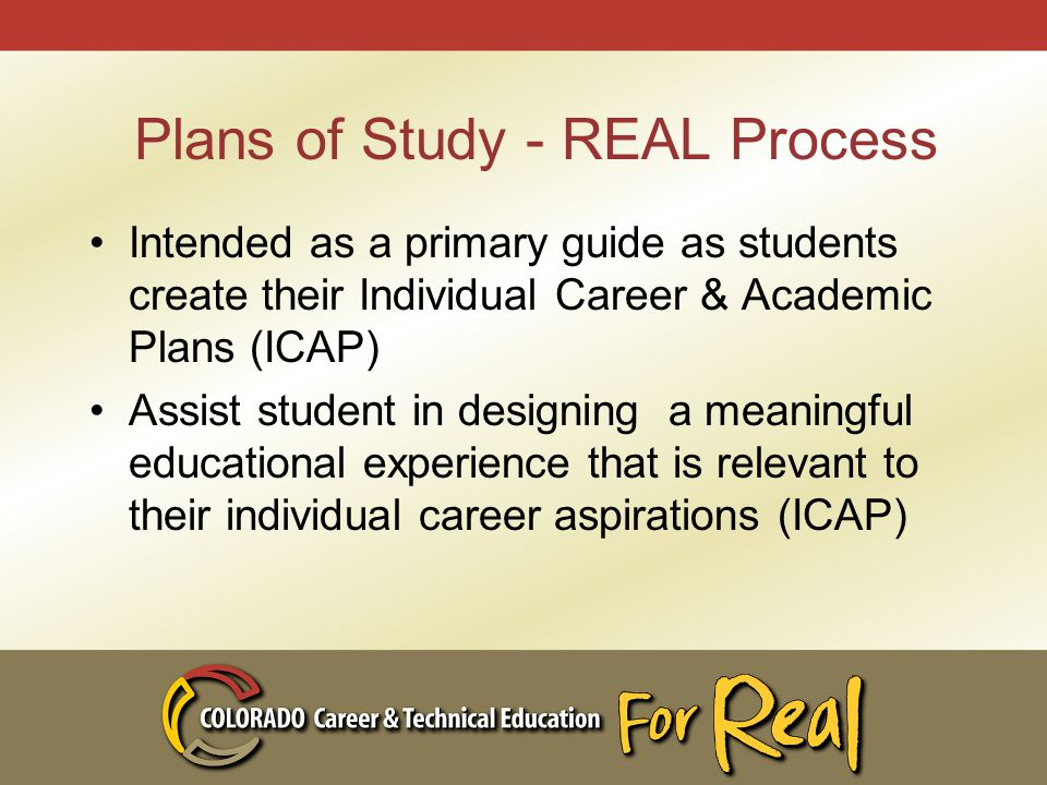 Plans of Study - REAL Process Intended as a primary guide as students create their Individual Career & Academic Plans (ICAP) Assist student in designing a meaningful educational experience that is relevant to their individual career aspirations (ICAP)