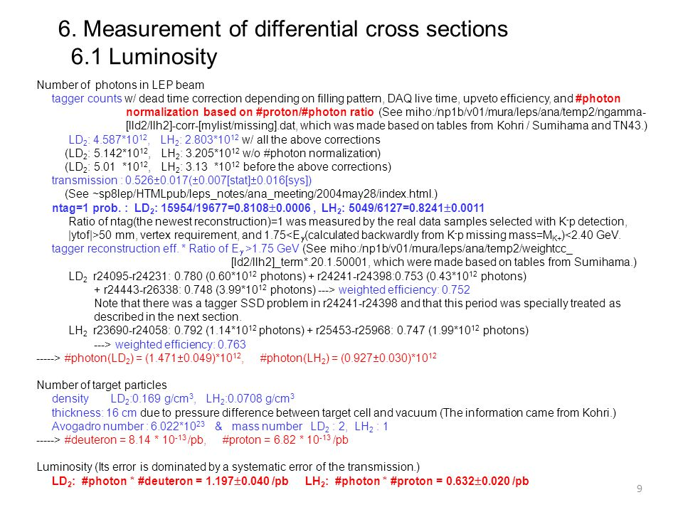 6. Measurement of differential cross sections 6.1 Luminosity Number of photons in LEP beam tagger counts w/ dead time correction depending on filling