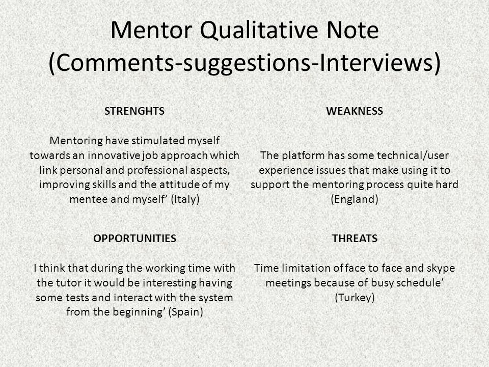 Mentor Qualitative Note (Comments-suggestions-Interviews) STRENGHTS Mentoring have stimulated myself towards an innovative job approach which link per