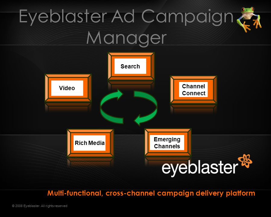 Eyeblaster Ad Campaign Manager Multi-functional, cross-channel campaign delivery platform Rich Media Video Search Emerging Channels Channel Connect