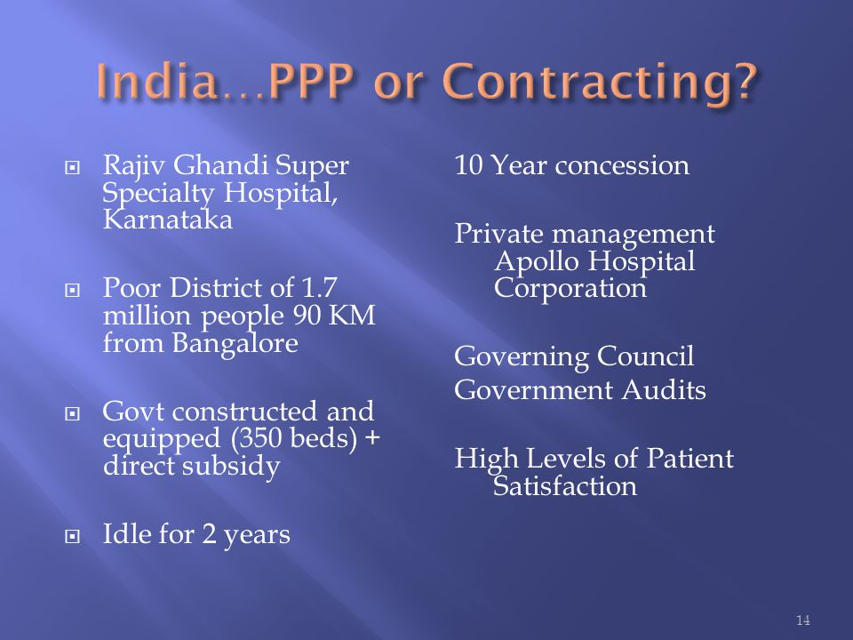  Rajiv Ghandi Super Specialty Hospital, Karnataka  Poor District of 1.7 million people 90 KM from Bangalore  Govt constructed and equipped (350 bed