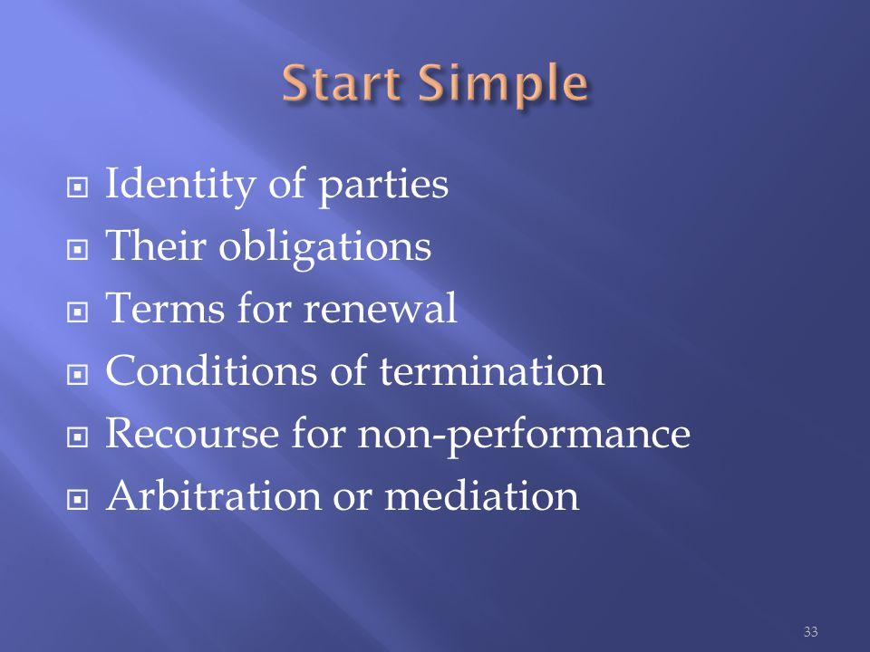  Identity of parties  Their obligations  Terms for renewal  Conditions of termination  Recourse for non-performance  Arbitration or mediation 33
