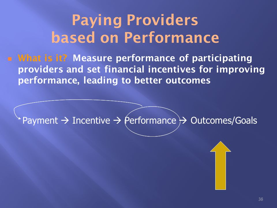 Payment  Incentive  Performance  Outcomes/Goals Paying Providers based on Performance What is it.