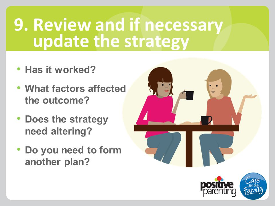 Has it worked? What factors affected the outcome? Does the strategy need altering? Do you need to form another plan? 9. Review and if necessary update