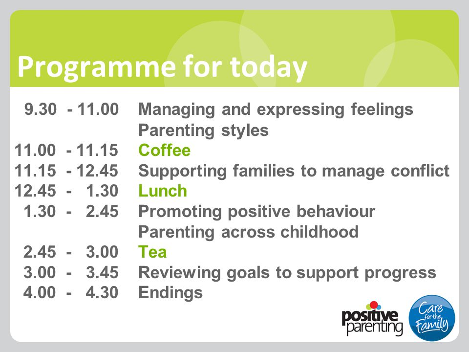 Programme for today 9.30 - 11.00Managing and expressing feelings Parenting styles 11.00 - 11.15Coffee 11.15 - 12.45Supporting families to manage confl