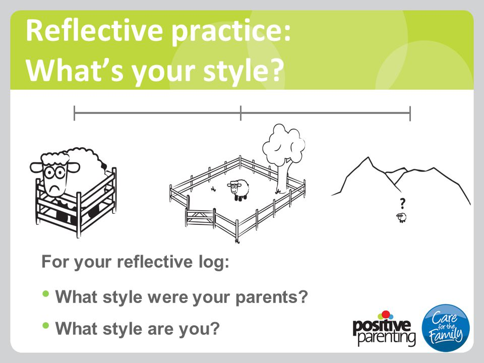 Reflective practice: What's your style? For your reflective log: What style were your parents? What style are you?