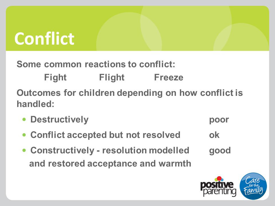 Conflict Some common reactions to conflict: FightFlightFreeze Outcomes for children depending on how conflict is handled: Destructivelypoor Conflict a