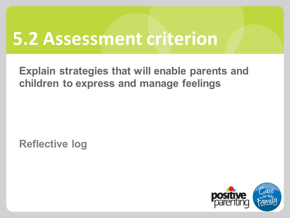 5.2 Assessment criterion Explain strategies that will enable parents and children to express and manage feelings Reflective log