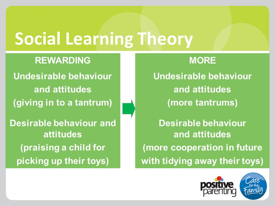 Social Learning Theory MORE Undesirable behaviour and attitudes (more tantrums) Desirable behaviour and attitudes (more cooperation in future with tid