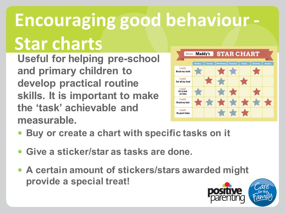 Encouraging good behaviour - Star charts Useful for helping pre-school and primary children to develop practical routine skills. It is important to ma