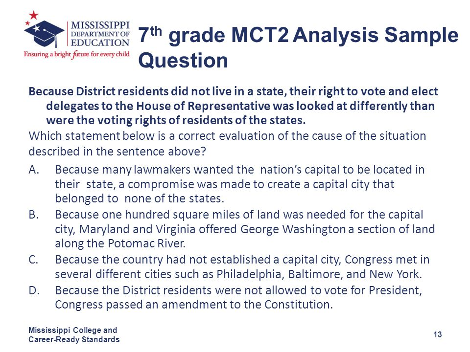 Because District residents did not live in a state, their right to vote and elect delegates to the House of Representative was looked at differently than were the voting rights of residents of the states.