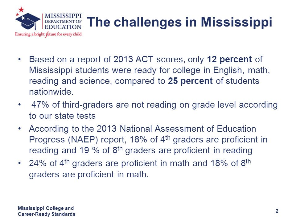 Based on a report of 2013 ACT scores, only 12 percent of Mississippi students were ready for college in English, math, reading and science, compared to 25 percent of students nationwide.