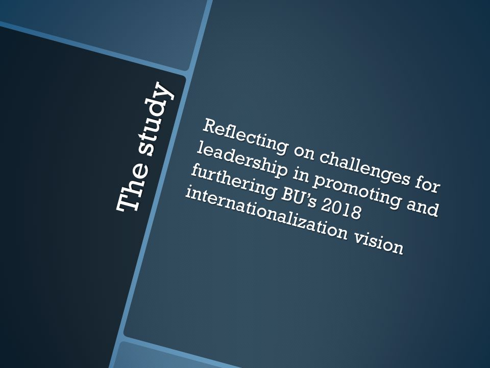 The study Reflecting on challenges for leadership in promoting and furthering BU's 2018 internationalization vision