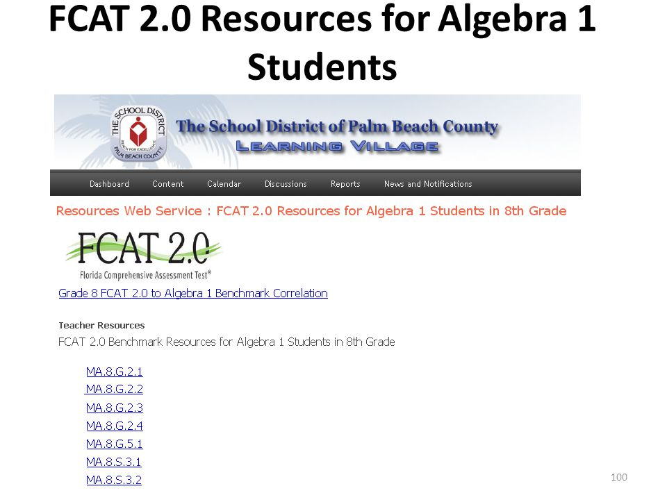 FCAT 2.0 Resources for Algebra 1 Students 100