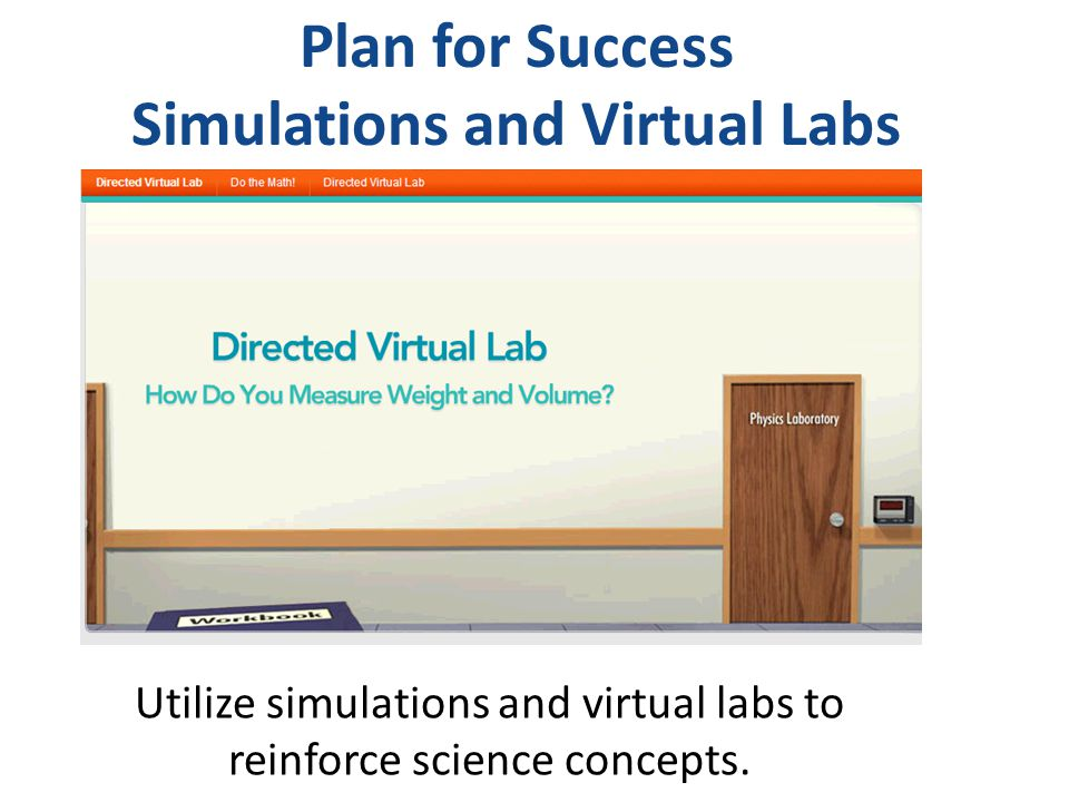 Plan for Success Simulations and Virtual Labs Utilize simulations and virtual labs to reinforce science concepts.