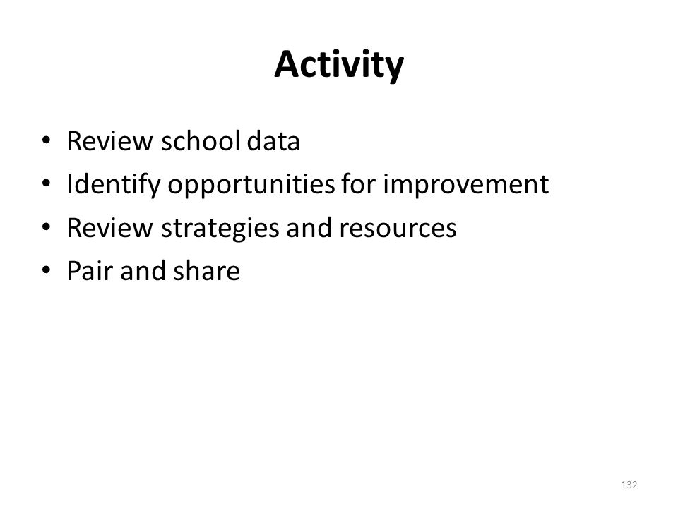 Activity Review school data Identify opportunities for improvement Review strategies and resources Pair and share 132
