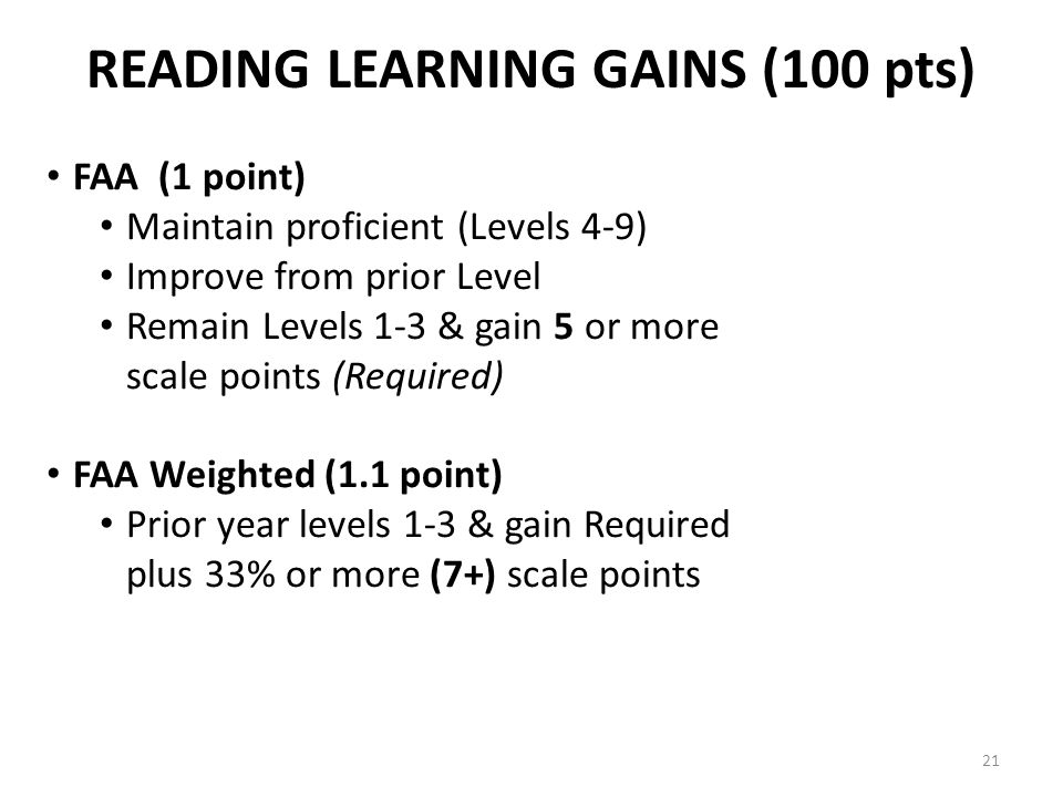 READING LEARNING GAINS (100 pts) FAA (1 point) Maintain proficient (Levels 4-9) Improve from prior Level Remain Levels 1-3 & gain 5 or more scale points (Required) FAA Weighted (1.1 point) Prior year levels 1-3 & gain Required plus 33% or more (7+) scale points 21