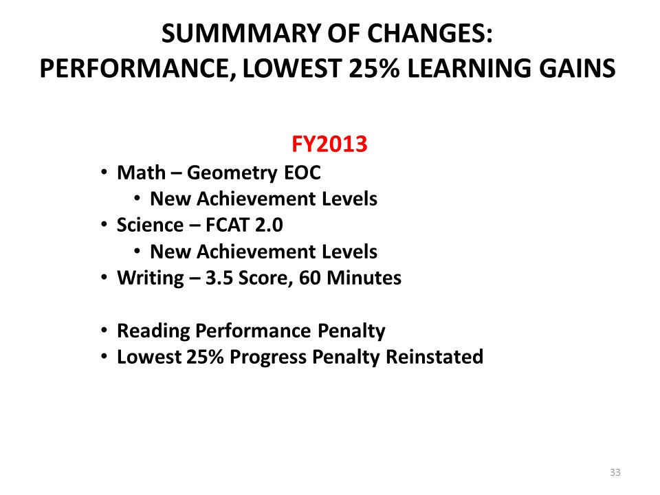 SUMMMARY OF CHANGES: PERFORMANCE, LOWEST 25% LEARNING GAINS FY2013 Math – Geometry EOC New Achievement Levels Science – FCAT 2.0 New Achievement Levels Writing – 3.5 Score, 60 Minutes Reading Performance Penalty Lowest 25% Progress Penalty Reinstated 33