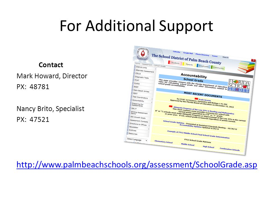 For Additional Support Contact Mark Howard, Director PX: 48781 Nancy Brito, Specialist PX: 47521 http://www.palmbeachschools.org/assessment/SchoolGrade.asp