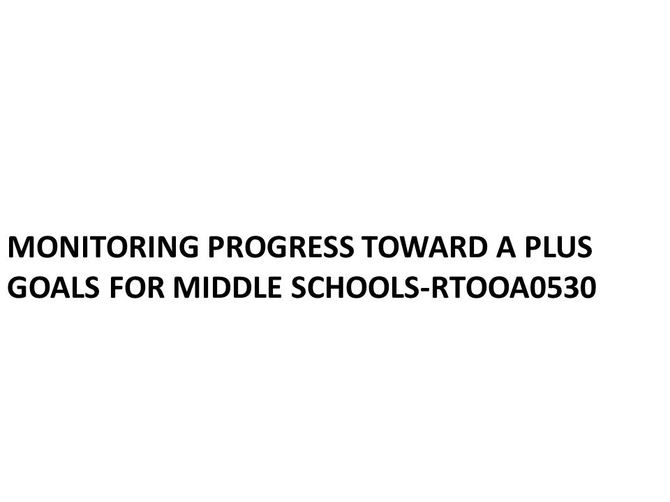 MONITORING PROGRESS TOWARD A PLUS GOALS FOR MIDDLE SCHOOLS-RTOOA0530