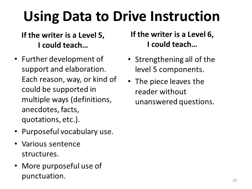 Using Data to Drive Instruction If the writer is a Level 5, I could teach… Further development of support and elaboration.