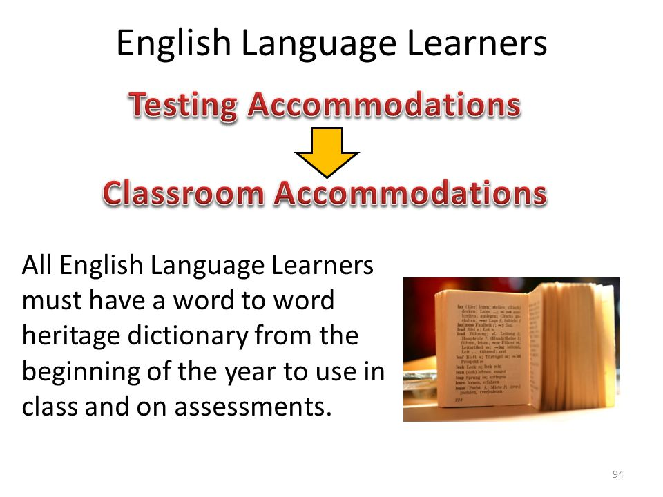 English Language Learners All English Language Learners must have a word to word heritage dictionary from the beginning of the year to use in class and on assessments.