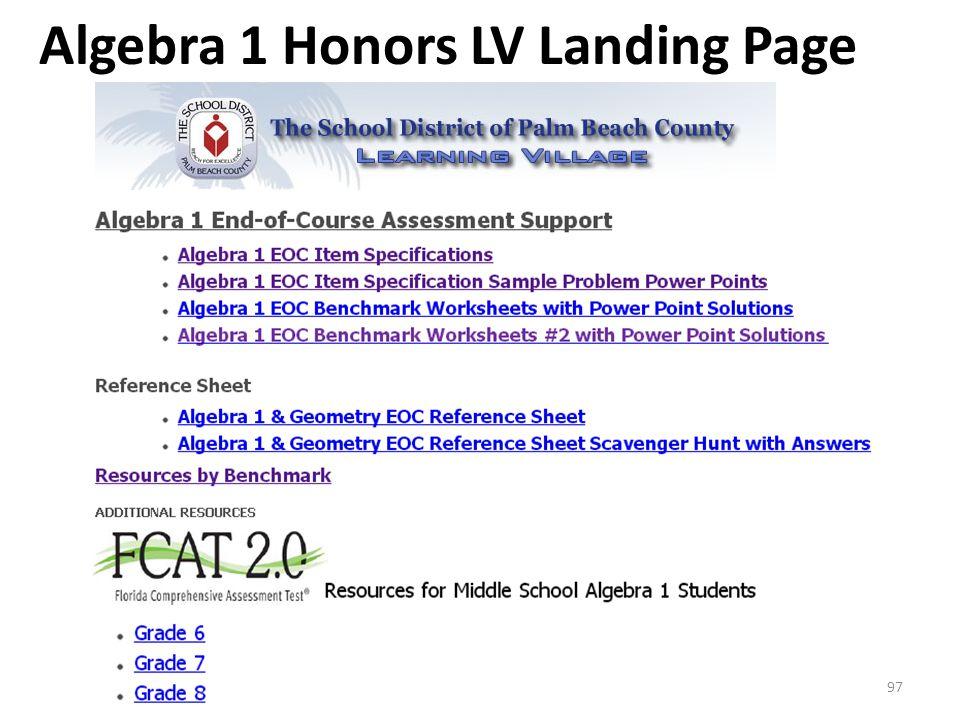 Algebra 1 Honors LV Landing Page 97